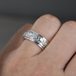 Sterling Silver Elephants Spinner Ring