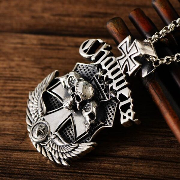 Sterling Silver Wing Cross Skull Pendant Necklace