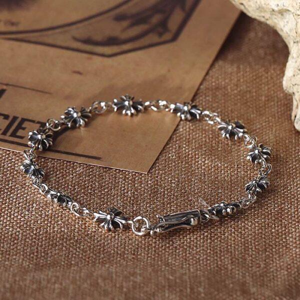 Silver Cross Patonce Links Bracelet