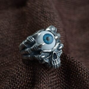 990 Silver Evil Eyeball Skull Finger Claw Ring
