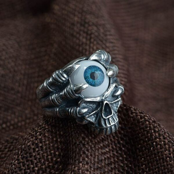 990 Silver Evil Eyeball Skull Finger Claw Ring