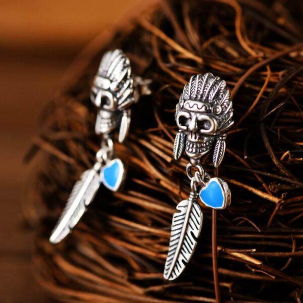 Chief Skull Drop Earrings