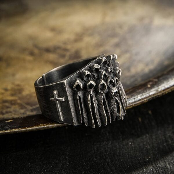 Fine Silver Christian Ghost Ring
