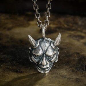 Fine Silver Hannya Skull Pendant Necklace