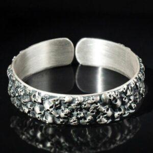 Fine Silver Multi-Skull Cuff Bracelet