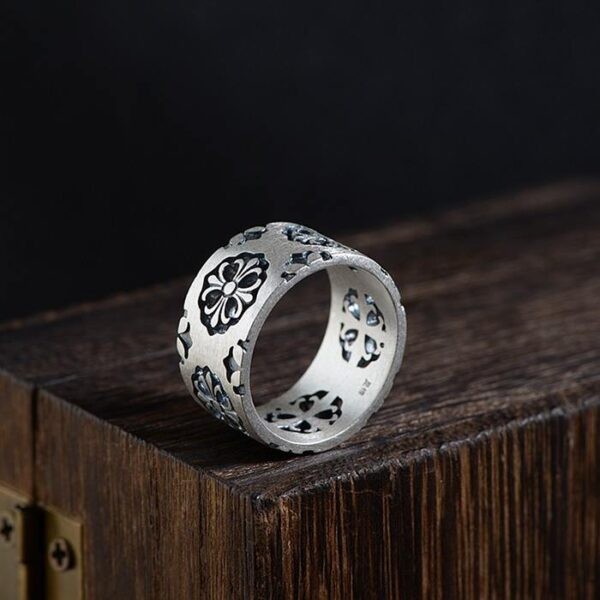 Fleur De Lis Cross Matte Band Ring