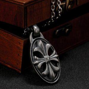 Fleur De Lis Cross Pendant Necklace