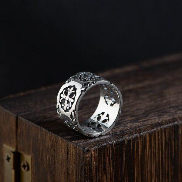 Fleur De Lis Cross Polished Band Ring