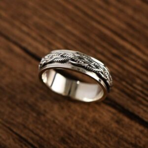 Silver Braided Spinner Band Ring