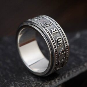 Silver Buddhist Mantra Spinner Ring