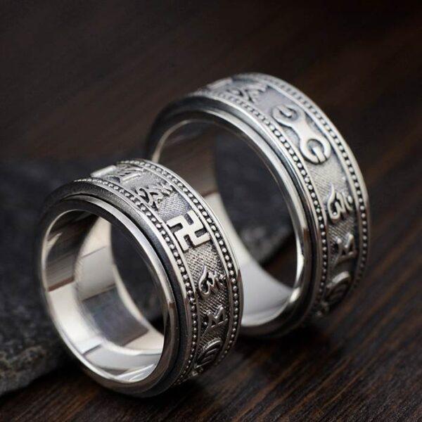 Silver Buddhist Mantra Spinner Ring