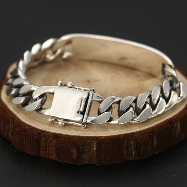 Silver Curb Chain ID Bracelet