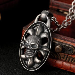 Silver Gothic Skull Pendant Necklace