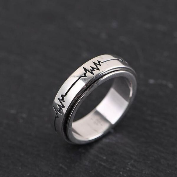 Silver Heartbeat Spinner Ring