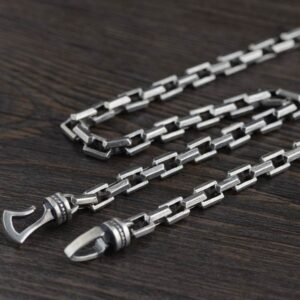 Silver Heavy Square Links Chain Necklace