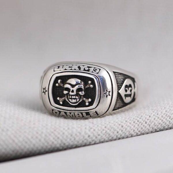 Silver Lucky Gamble Skull Crossbones Ring