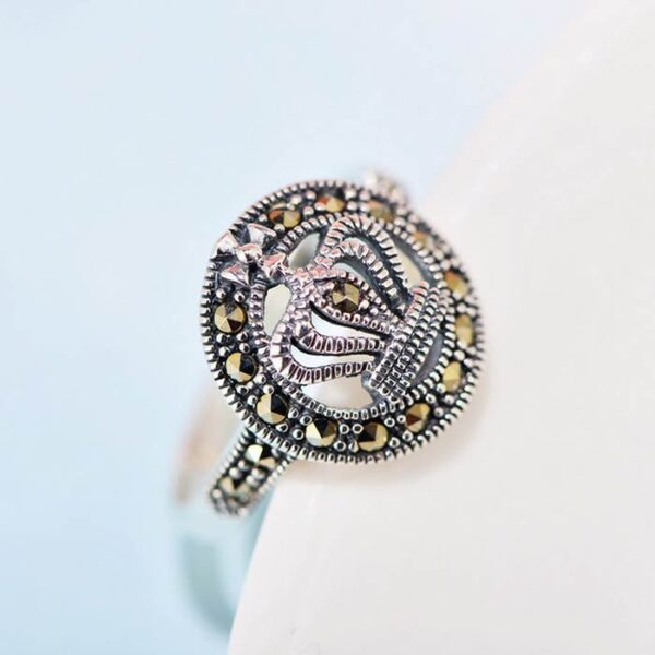 Silver Marcasite Halo Cluster Crown Ring