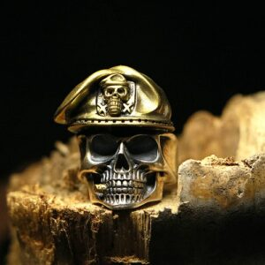 Silver Military Captain Skull Ring