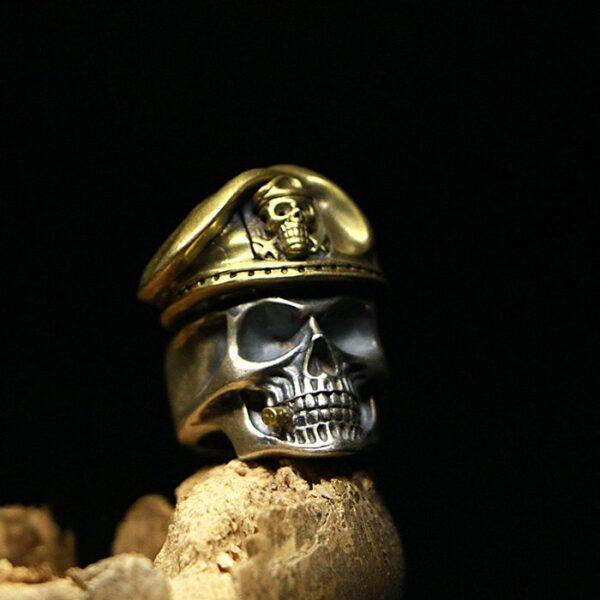 Silver Military Captain Skull Ring