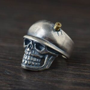 Silver Military Skull Army Adjustable Ring