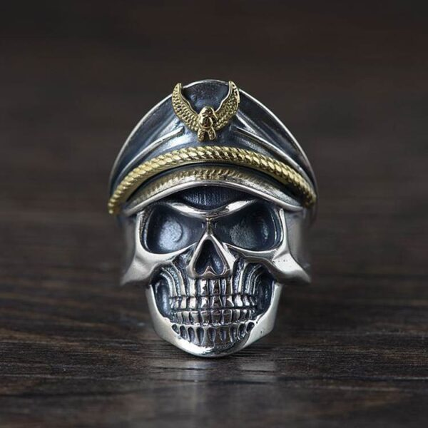 Silver Military Skull Army Ring