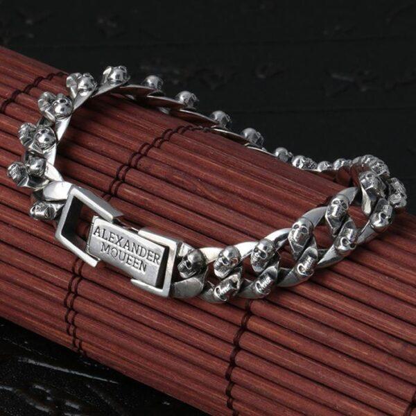 Silver Skull Curb Chain Bracelet