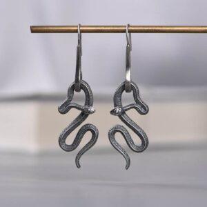 Silver Snake Drop Earrings