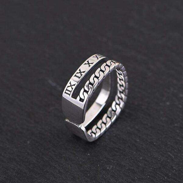 Silver Square Roman Numeral Ring