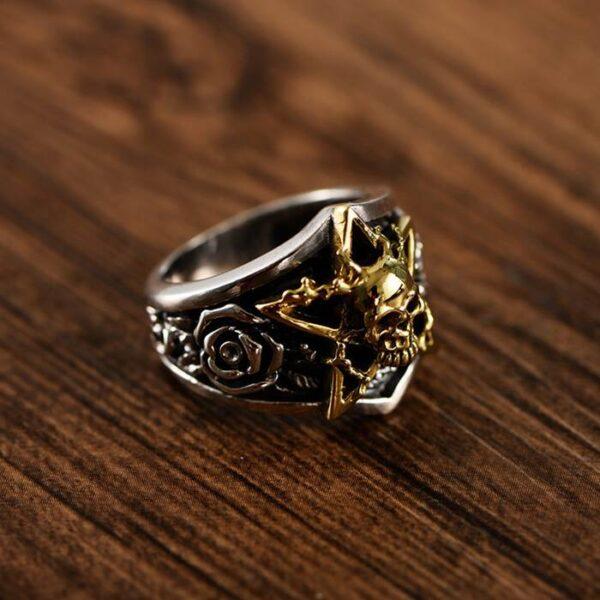 Silver Star Rose Skull Ring