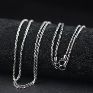 Silver Thin Rope Chain Necklace
