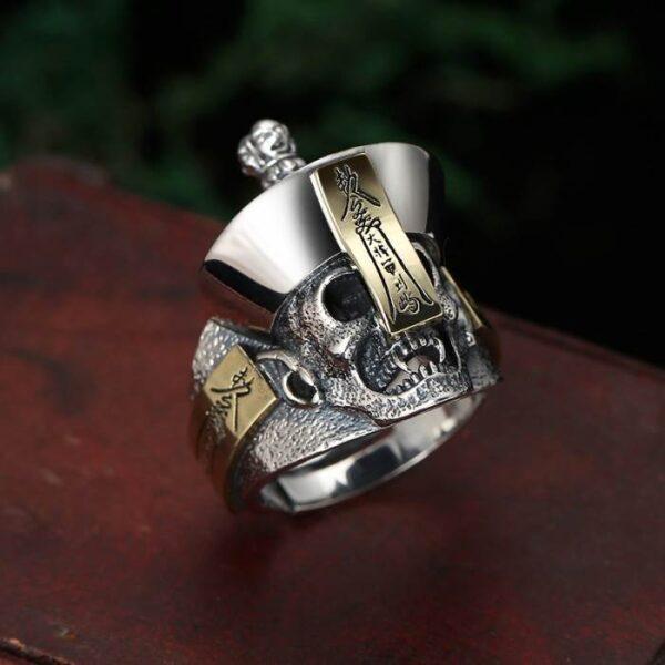 Silver Vampire Skull Adjustable Ring