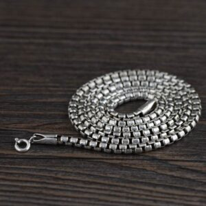"Silver 18"" - 32"" Rounded Box Chain Necklace"