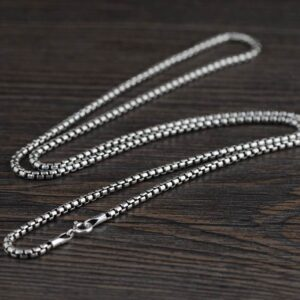 "Sterling Silver 18"" - 32"" Rounded Box Chain Necklace"
