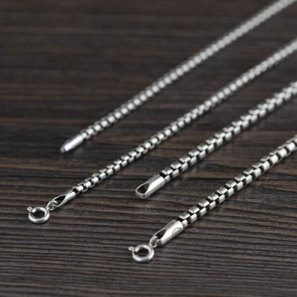 """Silver 18"""" - 32"""" Rounded Box Chain Necklace"""
