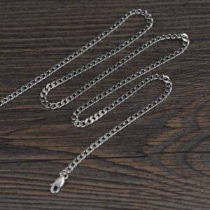 "Sterling Silver 20"" - 30"" Curb Links Chain Necklace"