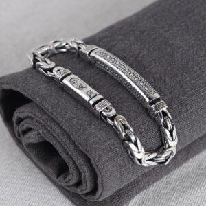 Sterling Silver Byzantine Chain Id Bracelet