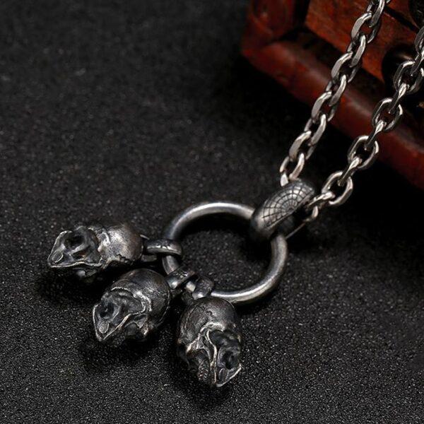 'Triple Skulls' Skull Pendant Necklace
