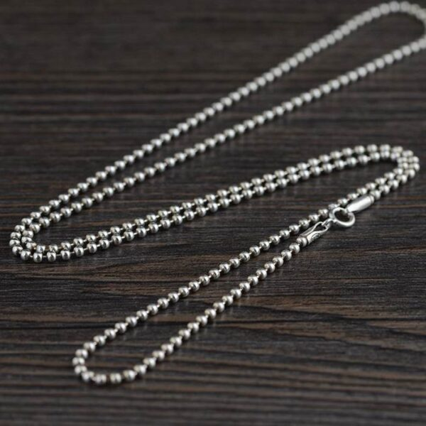 """Silver 18"""" - 32"""" Beaded Ball Chain Necklace 2mm"""