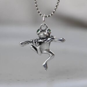 Women's Sterling Silver Frog Pendant Necklace