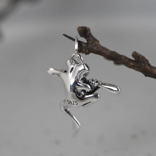 Silver Frog Pendant Necklace