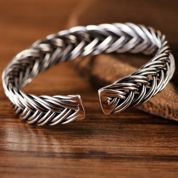 999 Fine Silver Braided Cuff Bracelet