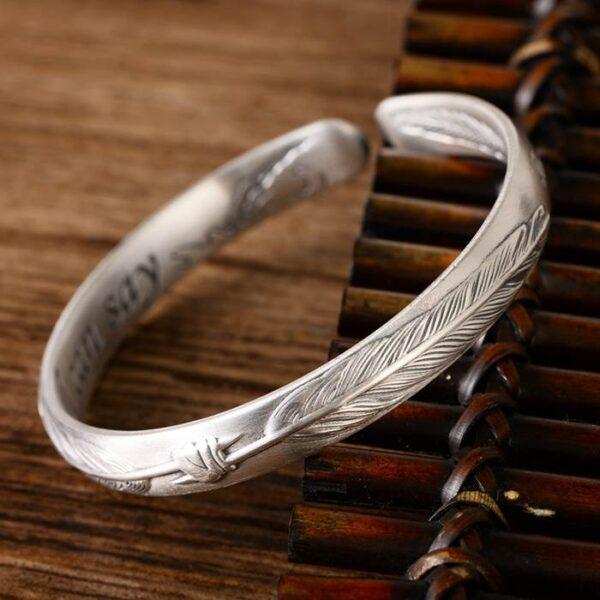 999 Fine Silver Feather I Love You Cuff Bracelet