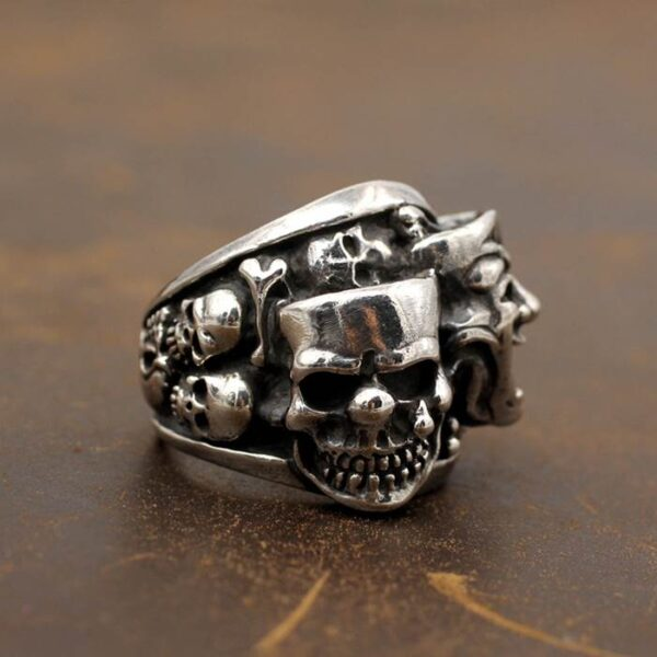 Cool Sterling Silver Joker & Skull Funny Ring