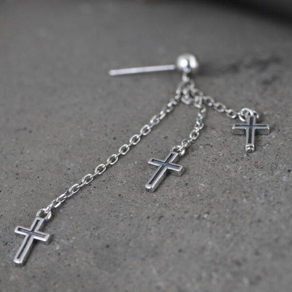 Cross Chain Link Tassel Earrings