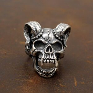 Demon Goat Baphomet Skull Ring