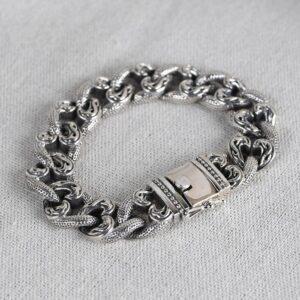 Flames Curb Link Chain Bracelet