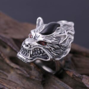 Men's Red Eyes Onyx Wolf Head Ring