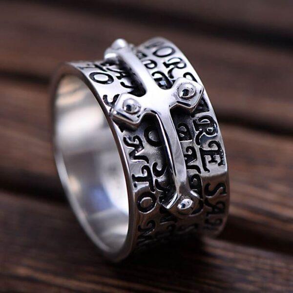 Men's Sterling Silver Christian Scripture Cross Ring