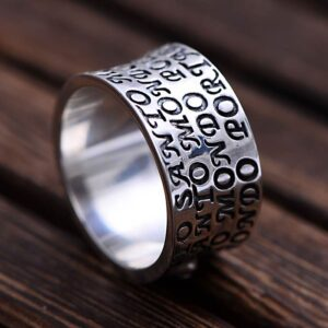 Men's Sterling Silver Christian Scripture Cross Ring