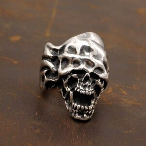 Men's Sterling Silver Gothic Devil Skull Ring